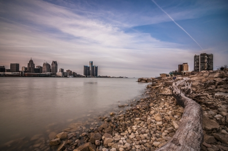 Detroit river between canada and detroit michigan photo