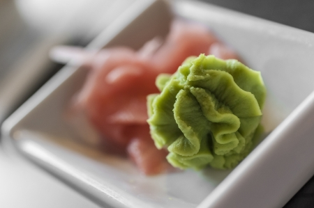 Japanese wasabi restaurant served condiment with ginger