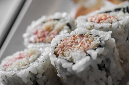 Japanese rice sushi on a platter macro