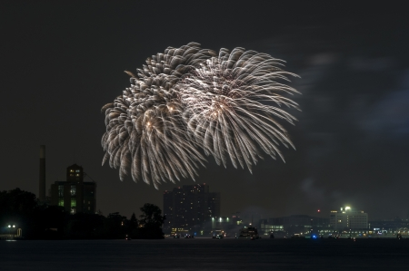 Fireworks over detroit river photo