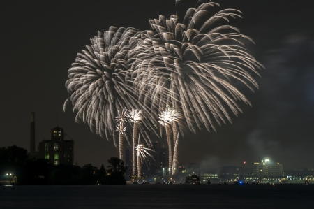 Fireworks over detroit river