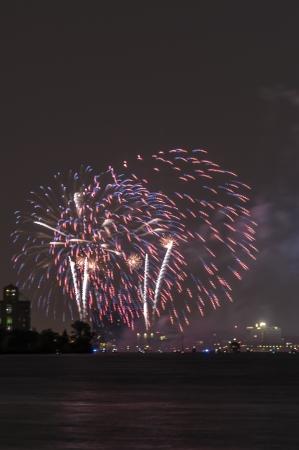 Fireworks over detroit river Stock Photo - 20664403