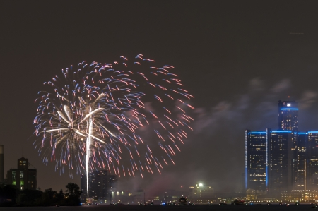 Fireworks over detroit river photo