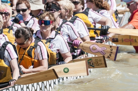 dragonboat: Dragon boat participant getting ready for the race