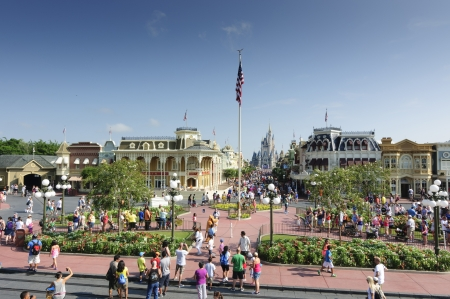 Disney main street in one busy morning with visitors