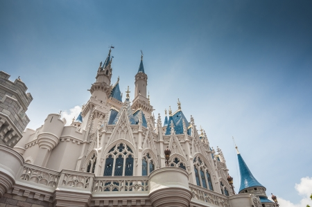 disney castle photo from the ground up