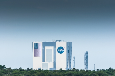 NAsa Vehicle assembly building photo from a distance Editorial