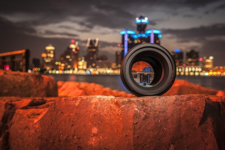 Picture of Detroit skyline shot through the lens photo