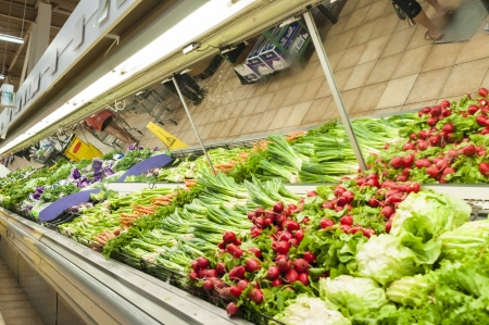 Supermarket fresh produce in vegetable sections