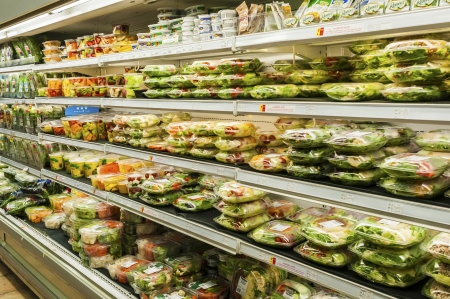 prepack: Assorted pre-pack salad section in super market Stock Photo