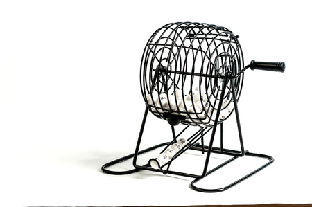 spinner: Bingo cage isolated on white back ground