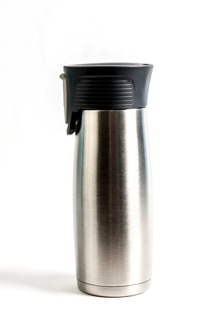 Stainless steel coffee thermos isolated on white