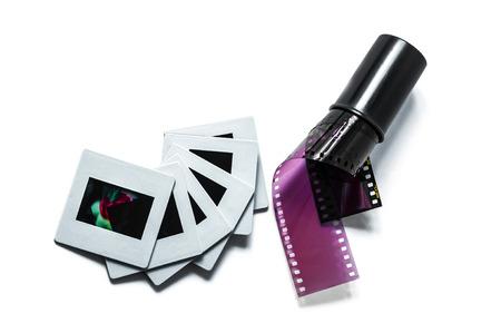Film and slide on white backgrond Standard-Bild