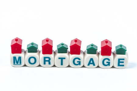 collateral: Mortgage word blocks in white background