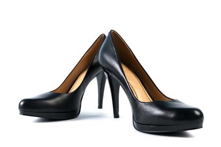 high heeled: Pair of wowmans black high heeled shoe Stock Photo