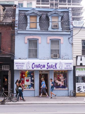 Side walk condom store in downtown Toronto