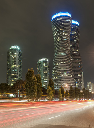 Night view of modern building in Downtown Mississauga photo
