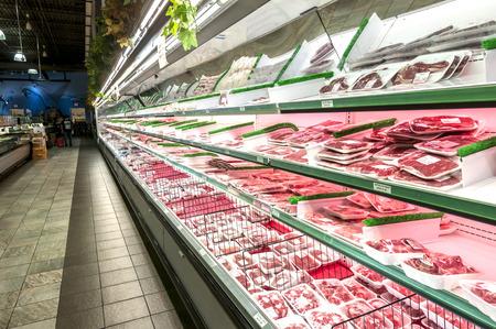 a Super market meat section aisle