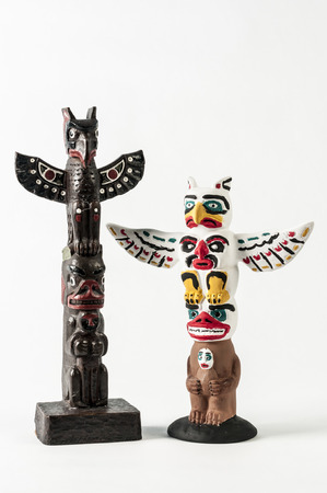british culture: a table top replica of north american totem pole Stock Photo