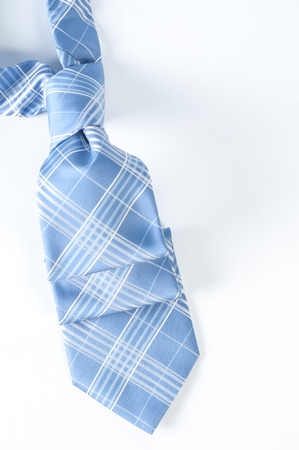 love: Blue tie ove a white back ground Stock Photo