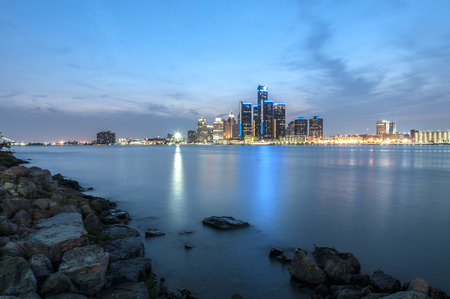 Detroit skyline at the shore of windsor ontario photo