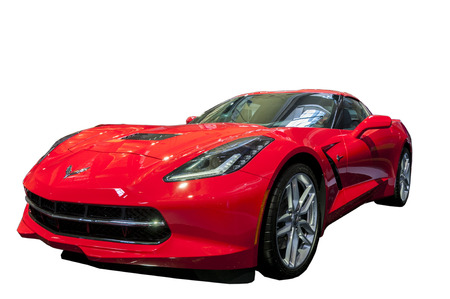 Isolated red corvette sports car Editorial