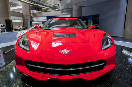Display red corvette sting ray at the ren cen