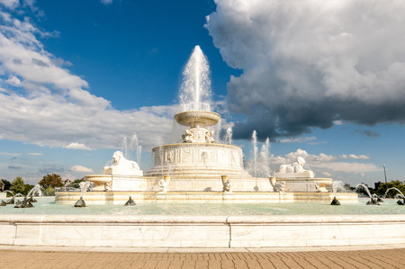 The James Scott Memorial Fountain is a monument located in Belle Isle Park, in Detroit, Michigan. Designed by architect Cass Gilbert and sculptor Herbert Adams, the fountain was completed in 1925 at a cost of $500,000. The lower bowl has a diameter of 510