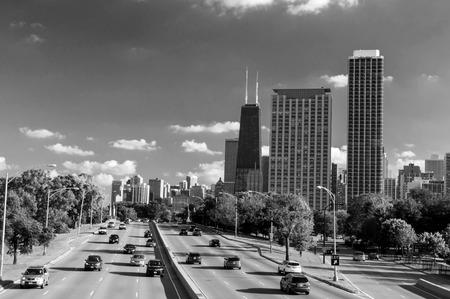 hancock building: Skyline of Downtown Chicago with John hancock building Stock Photo