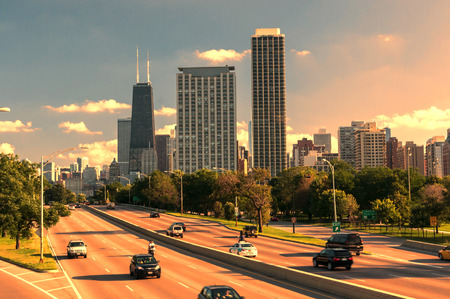 Skyline of Downtown Chicago with John hancock building Фото со стока