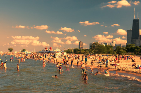 Busy North avenue beach in Chicago Ill. photo