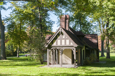 A tudor playhouse architecture in a wooded land