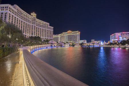 water feature: Man made lake right in front of Bellagio hotel Las vegas Editorial