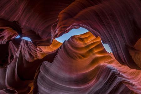 slot canyon: Looking upwards from the bottom of antelope canyon. Stock Photo