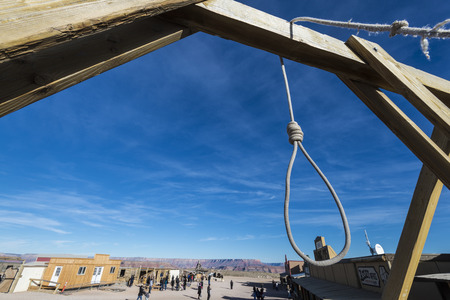 western town: A hang mans loose in the middle of western town. Stock Photo