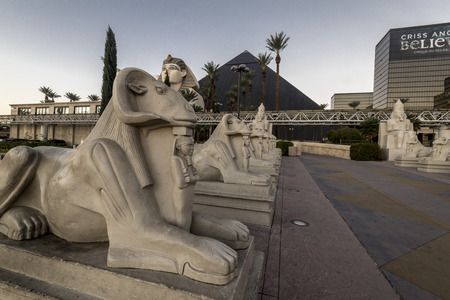 Stone sculpture in front of of Luxor hotel