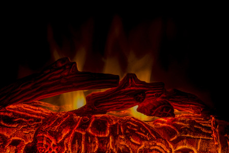 smoldering: a close-up shot of smoldering  fire place Stock Photo