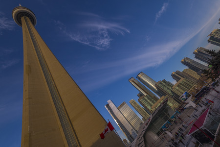 building cn tower: Wide angle shot of CN tower and high rise building in the back ground