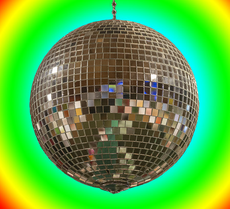 Mirror disco ball on a white back gruond Stock Photo