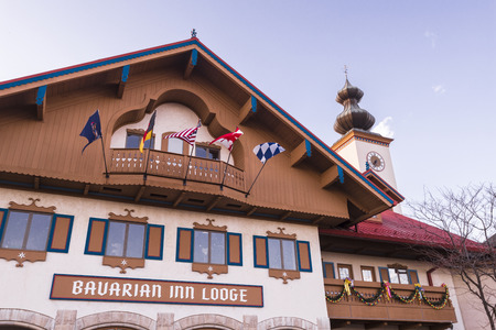inn: Close up view of Bavarian inn lodge in Frankenmuth Michigan