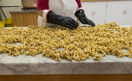 A preparation of Caramelized candied pop corn Stock Photo