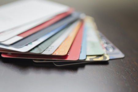 technology transaction: Shallow depth of field of credit cards.