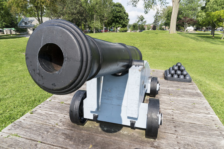 Antique cannon on display in the park in ontario. Stock Photo - 43678998