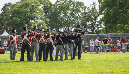 musket: A Musket firing line during demonstration on war of 1812