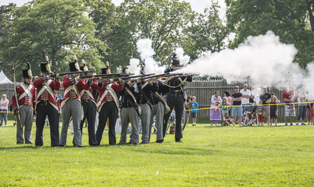 musket: A demonstration of firing musket during war of 1812 performance.