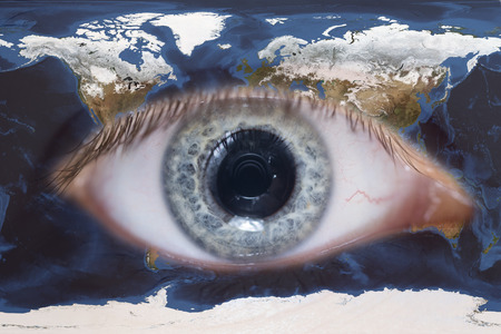 topology: An eye surrounded with earth map topology Stock Photo