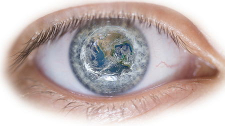 optical people person planet: An eye with image of earth inside the eye ball.