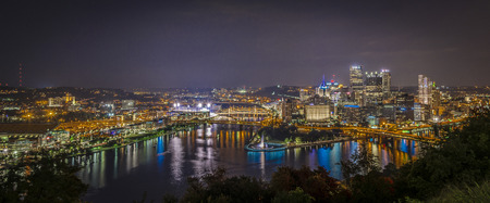 allegheny: Skyline of Pittsburgh in panorama during dusk