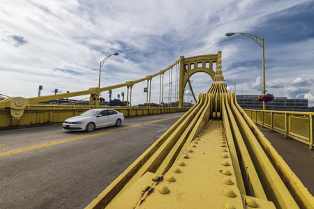 allegheny: A bridge in Pittsburgh Pa named after Roberto Clemente. Stock Photo