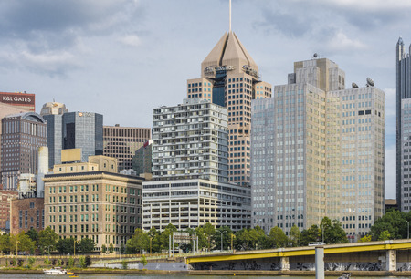 sky scrapers: A view of downtown Pittsburgh Pa in day time Stock Photo